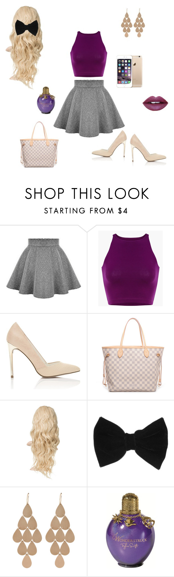 """""""purple and gold✨"""" by xxokanchan ❤ liked on Polyvore featuring Miss Selfridge, Louis Vuitton, claire's, Irene Neuwirth, Fiebiger, women's clothing, women, female, woman and misses"""