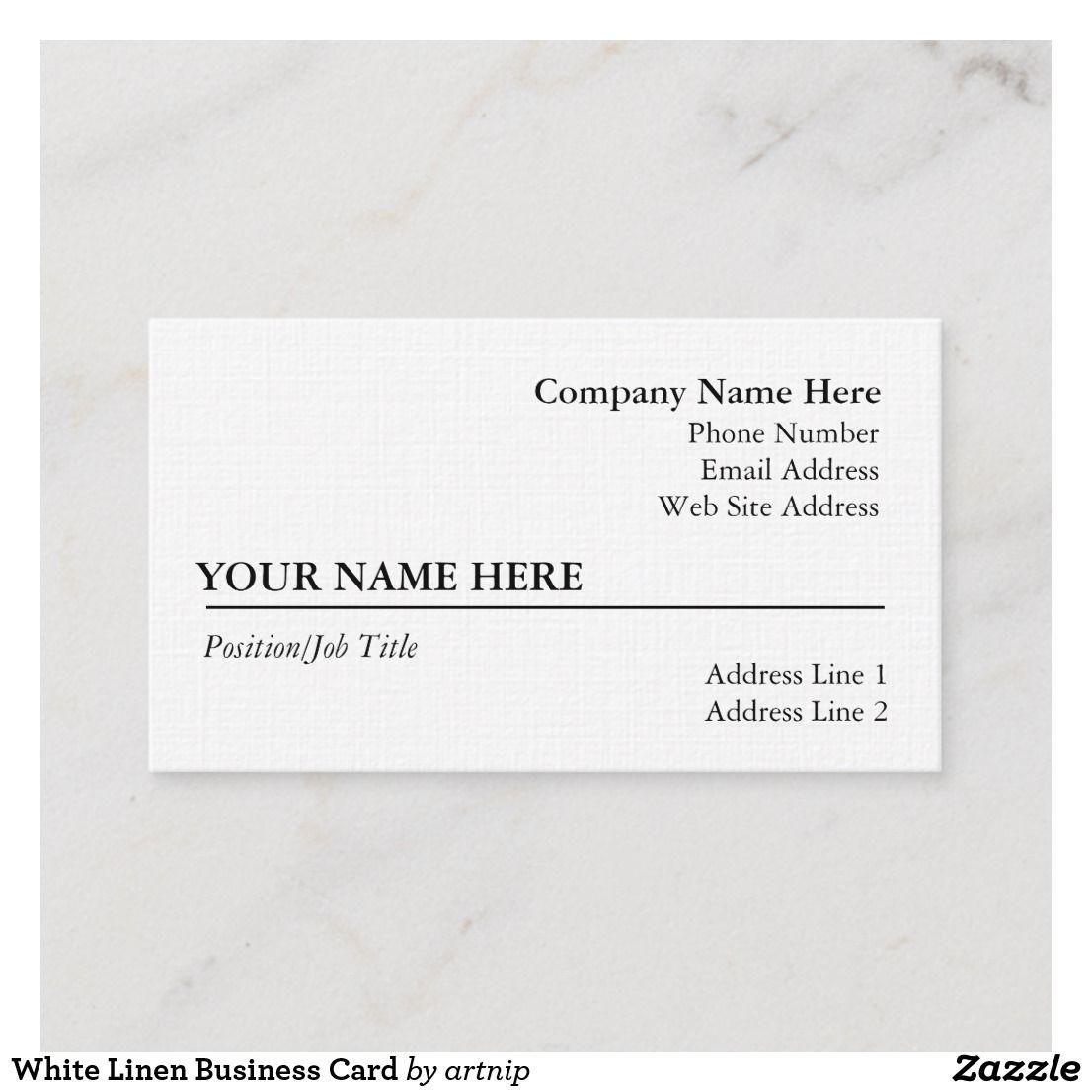 White Linen Business Card Zazzle Com Linen Business Cards White Linen Linen