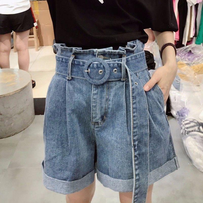 4738c12242b Summer Denim Shorts For Women Jeans High Waist Loose Plus Size Slim With  Belt Women s Short