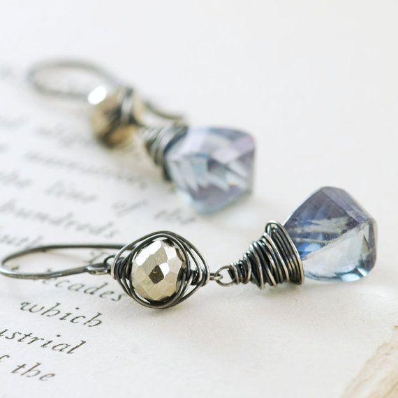 Sterling Silver Earrings Blue Quartz Pyrite, Gemstone Dangle Earrings, Handmade by aubepine.etsy.com