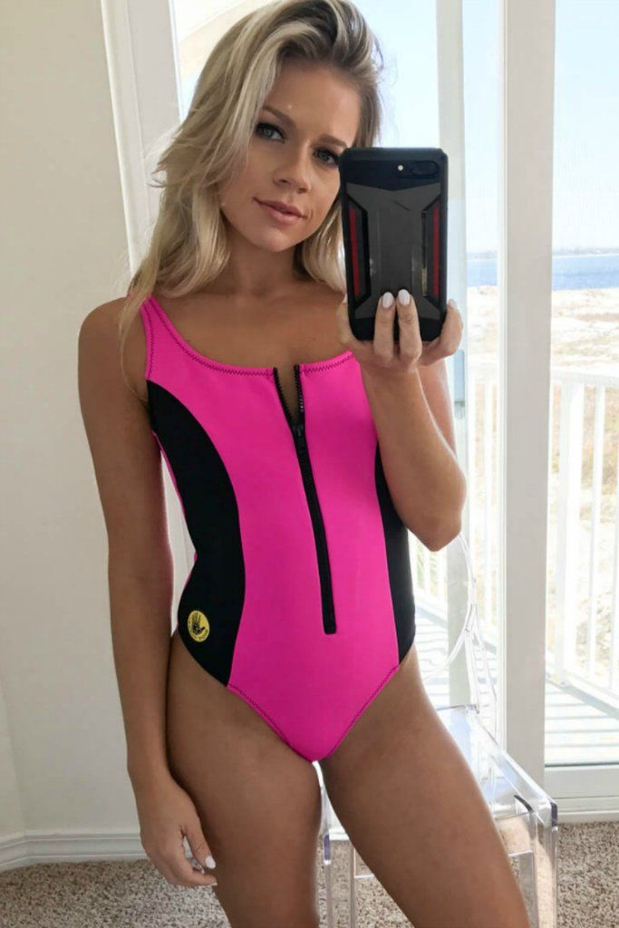 9ef0b5f819 This one piece features black contrast paneling