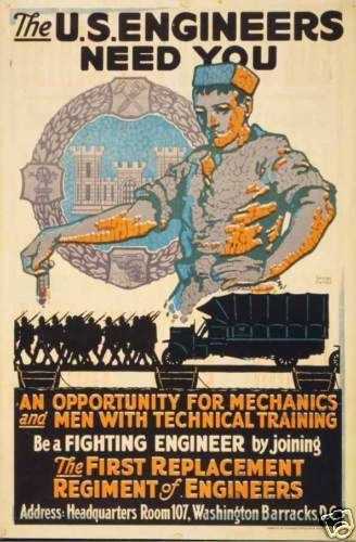 Us Army Corps Of Engineers Ww1 Recruiting Poster Print