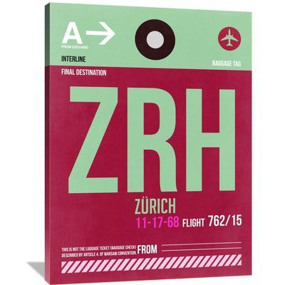 Naxart 'ZRH Zurich Luggage Tag 2' Painting Print on Wrapped Canvas Size: