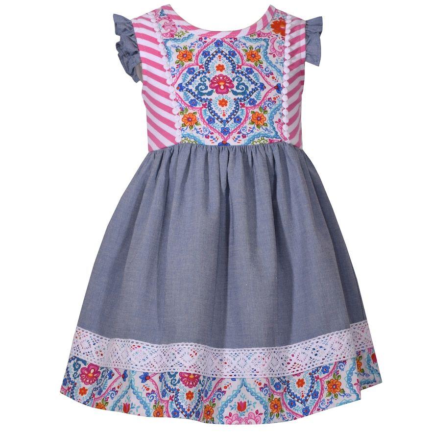 13b5ee8b20d2 Toddler Girl Bonnie Jean Print Lace-Trim Dress