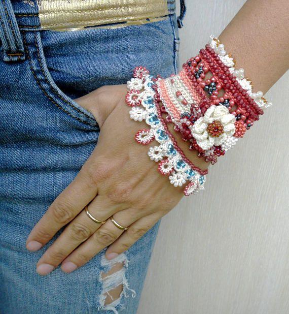 Freeform Crochet Bracelet Cuff With Beads And Flowers Handmade