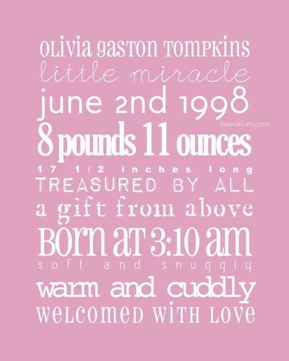 17 Best images about baby announcement word art – Baby Girl Birth Announcement Template