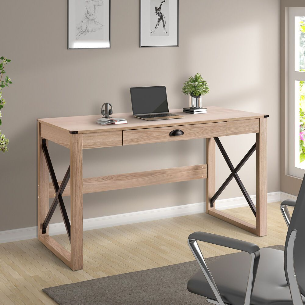 Writing Table Modern Wood Computer Desk W Drawer Home Office