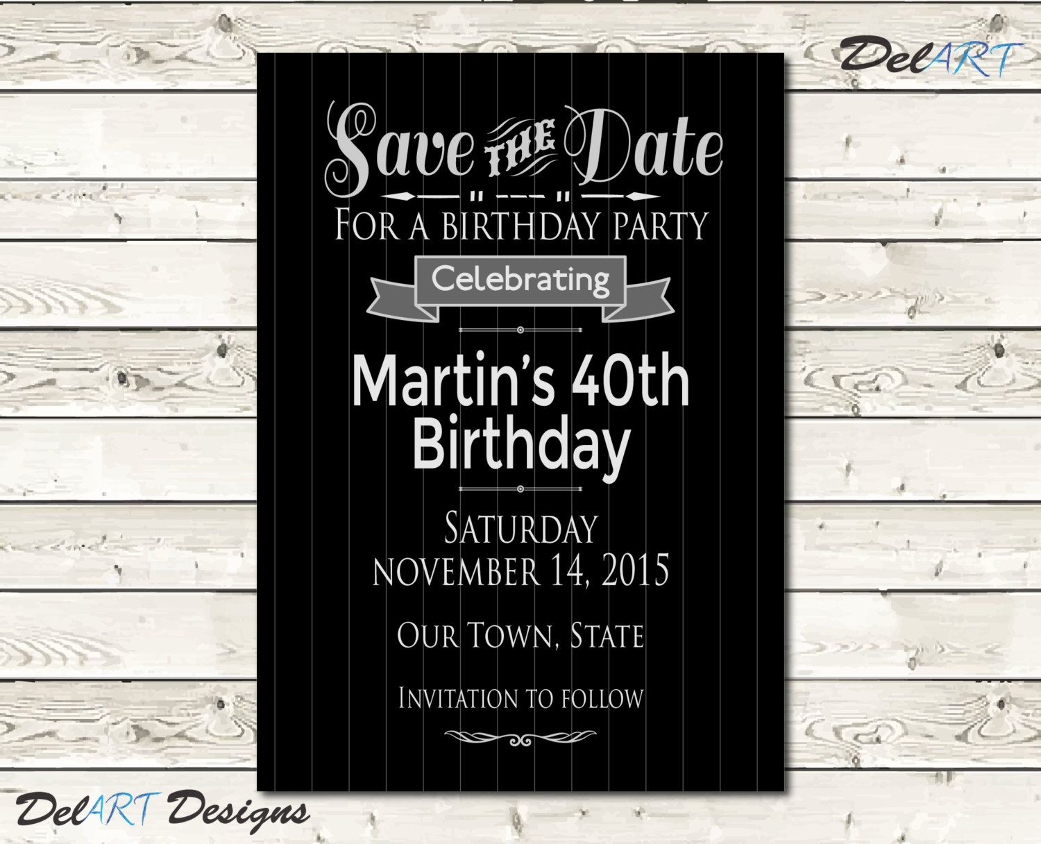 Pinstripe birthday or surpise party save the date card or invitation pinstripe birthday or surpise party save the date card or invitation black silver bookmarktalkfo Images