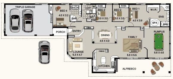 4 Bed 2 Bath Triple Garage House Plan Houses Country Style
