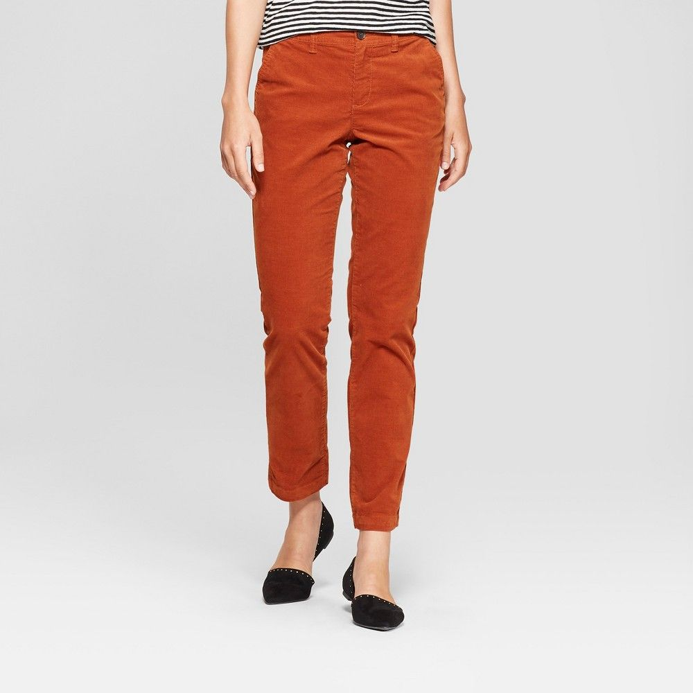first look affordable price unequal in performance Women's Slim Corduroy Pants - A New Day Rust 14, Size: Small ...