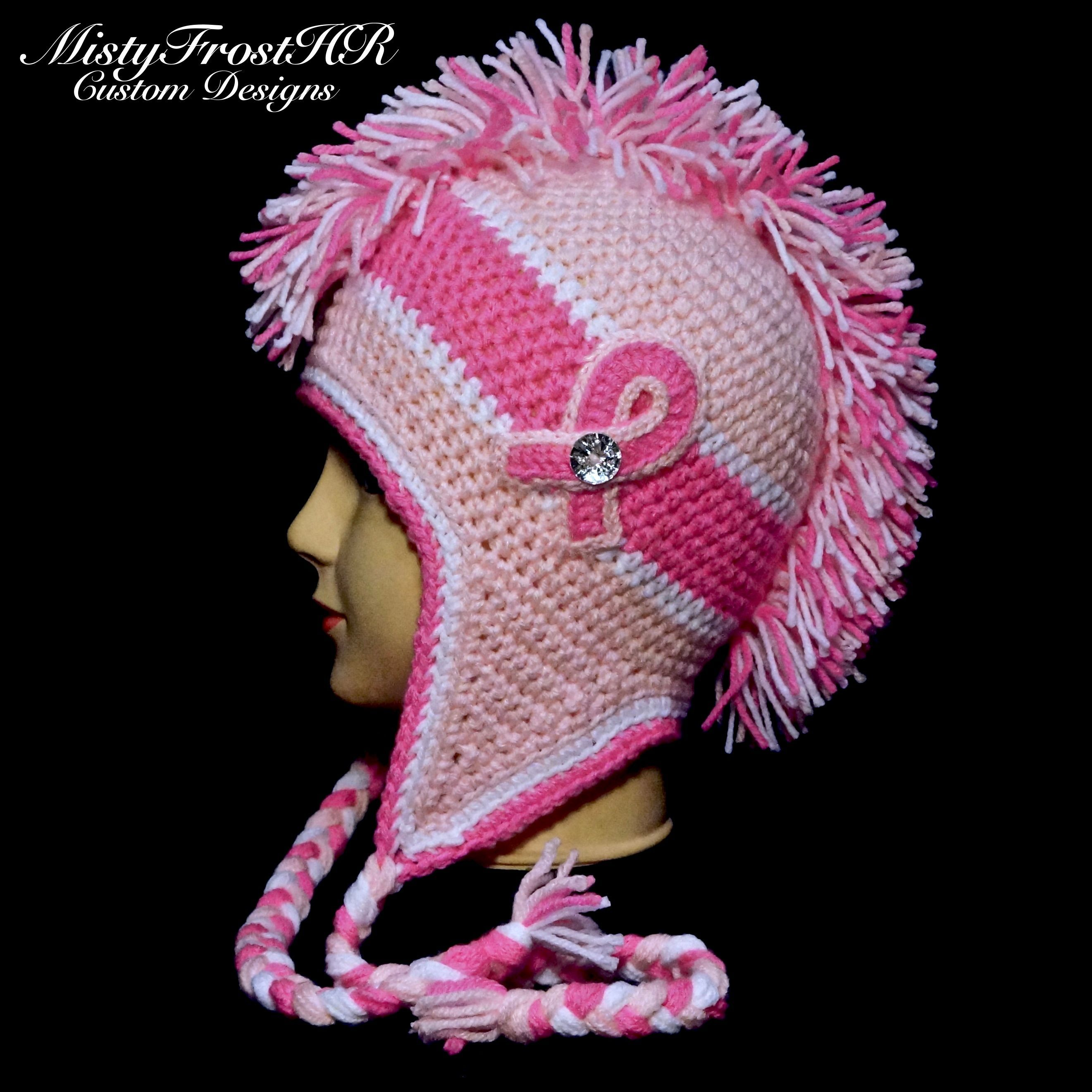 Crochet breast cancer awareness mohawk hat available in any size