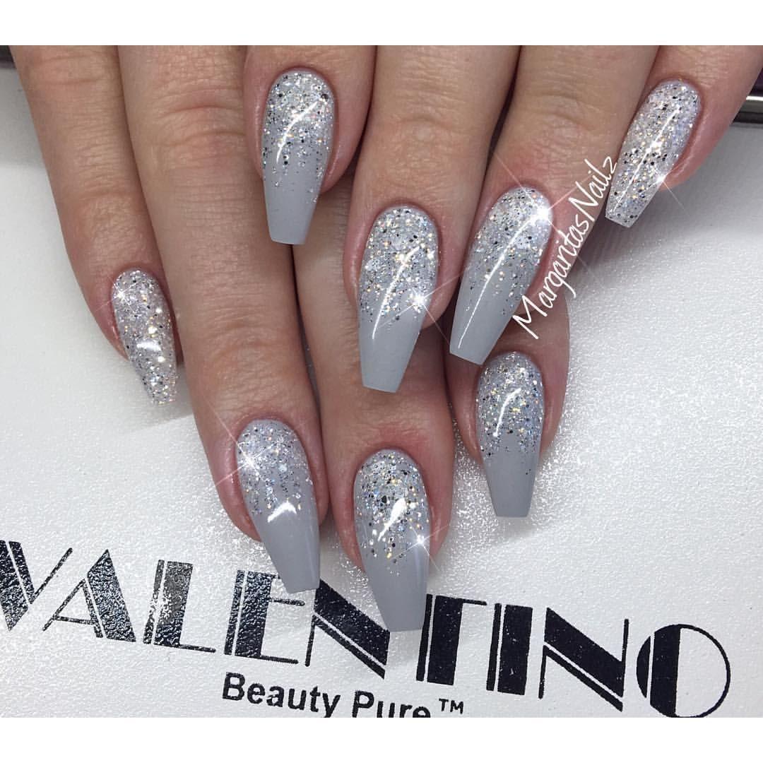 Grey coffin nails glitter ombré nail art fall fashion 2016 | Nails ...