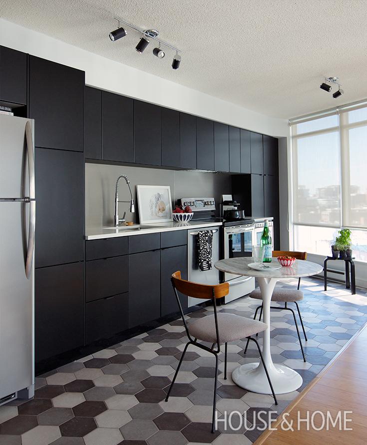 MAKEOVER: A Small Condo Kitchen With Black Cabinets! Photo: Jason Stickley
