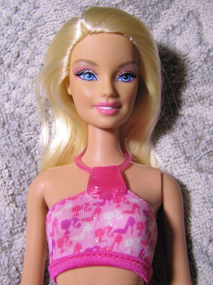 Lovely Mattel Blonde Barbie w/Big Beach Feet in Swimsuit (Very nice doll) #Mattel