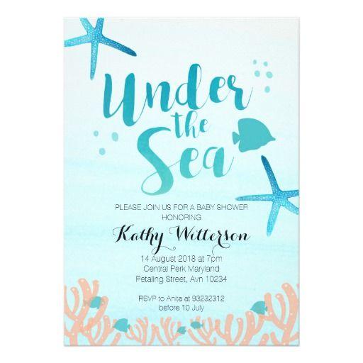 Under the sea baby shower invitation shower invitations ocean under the sea baby shower invitation filmwisefo