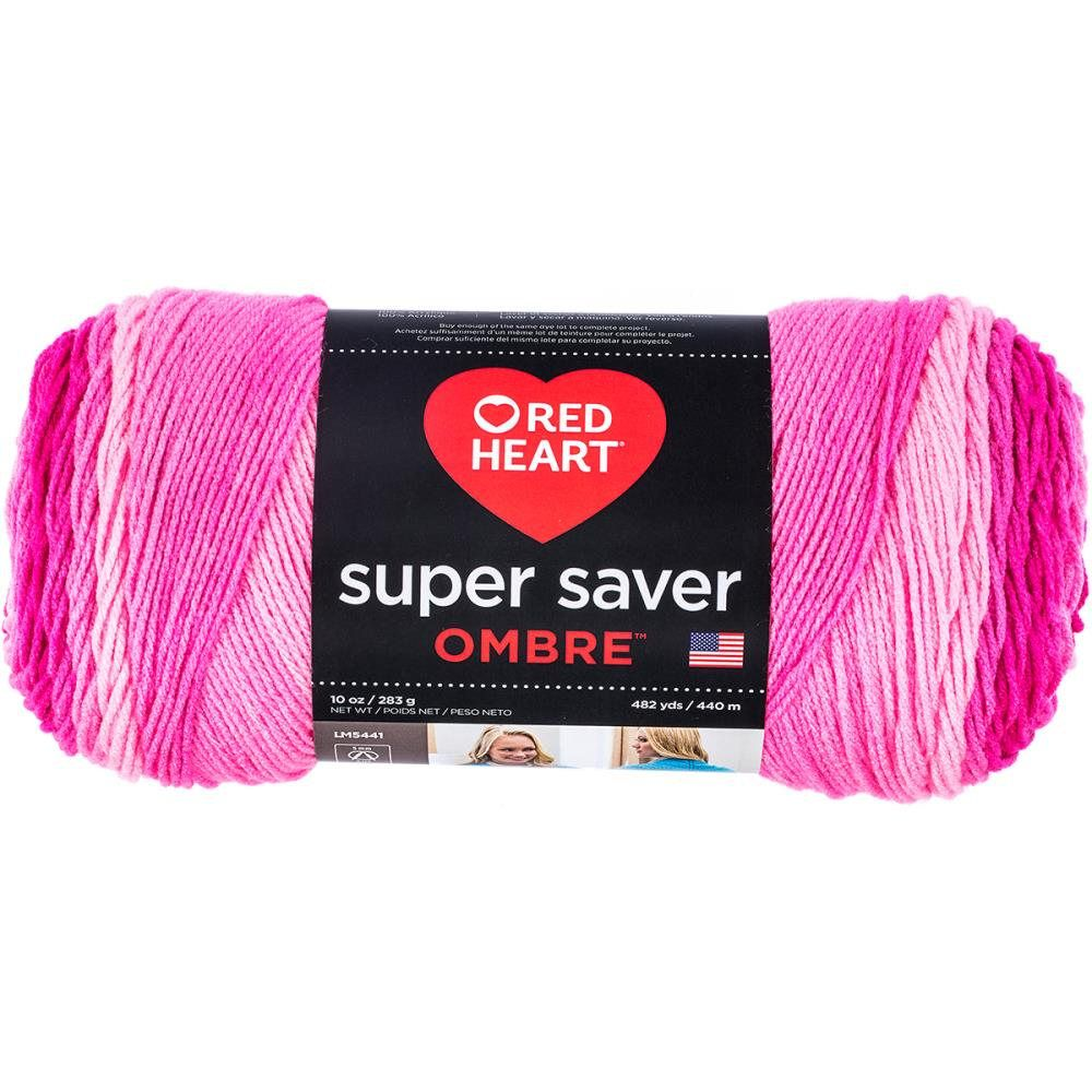 Red Heart Super Saver Ombre Yarn Jazzy Pink Color Gradient Yarn by ...