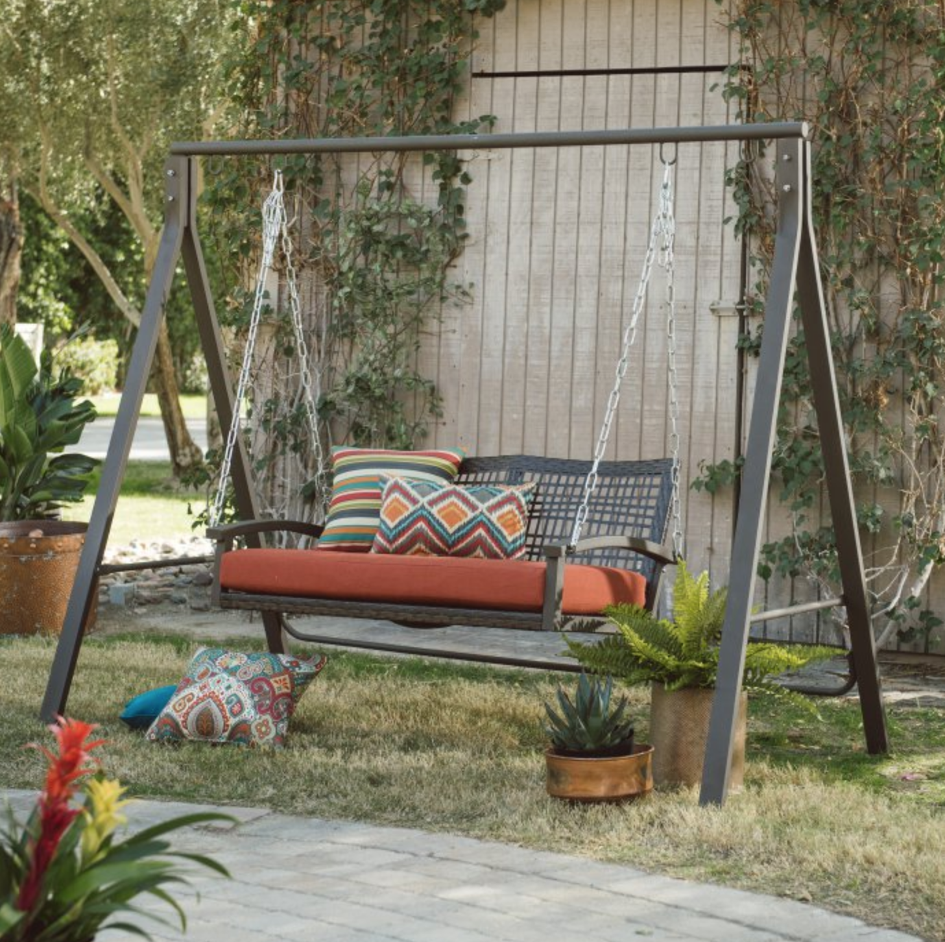 Patio Metal Swing Stand A Frame Steel For 4 5 Swings Lawn