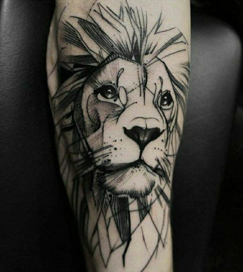 Tattoo Löwe realistisch