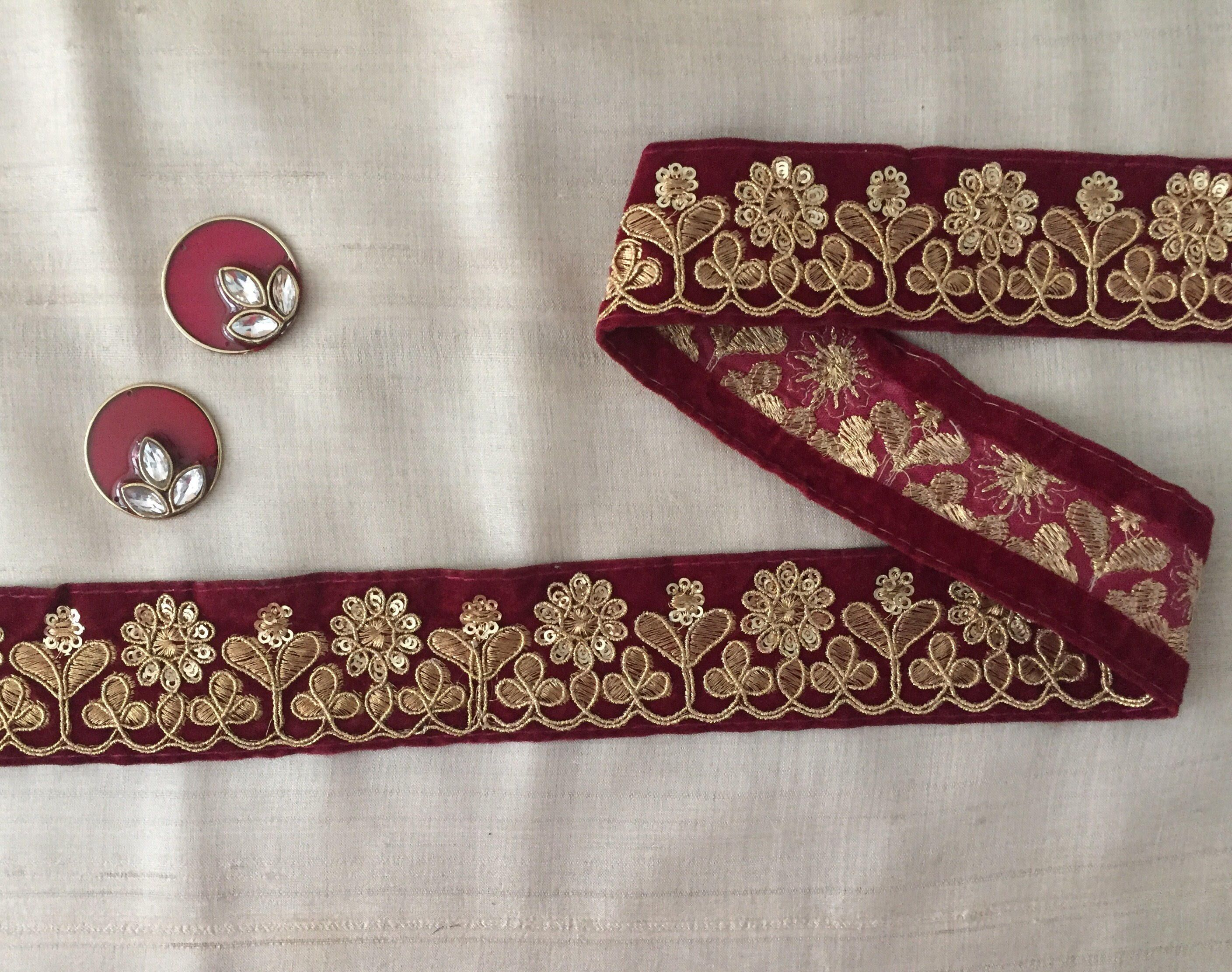 ATTRACTIVE INDIAN RED WOVEN FABRIC WITH GREEN AND GOLD  TRIM//LACE-Sold By MTR