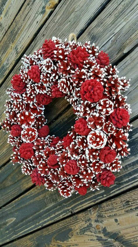 Christmas Wreath, Holiday Wreath, Pine Cone Wreath, Red and White Wreath -   23 pinecone crafts white