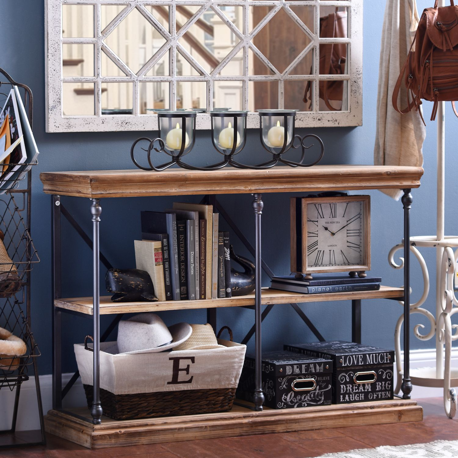 Sonoma two tier console table console tables consoles and rustic meets modern with the sonoma two tier console table it pairs reclaimed wood geotapseo Choice Image
