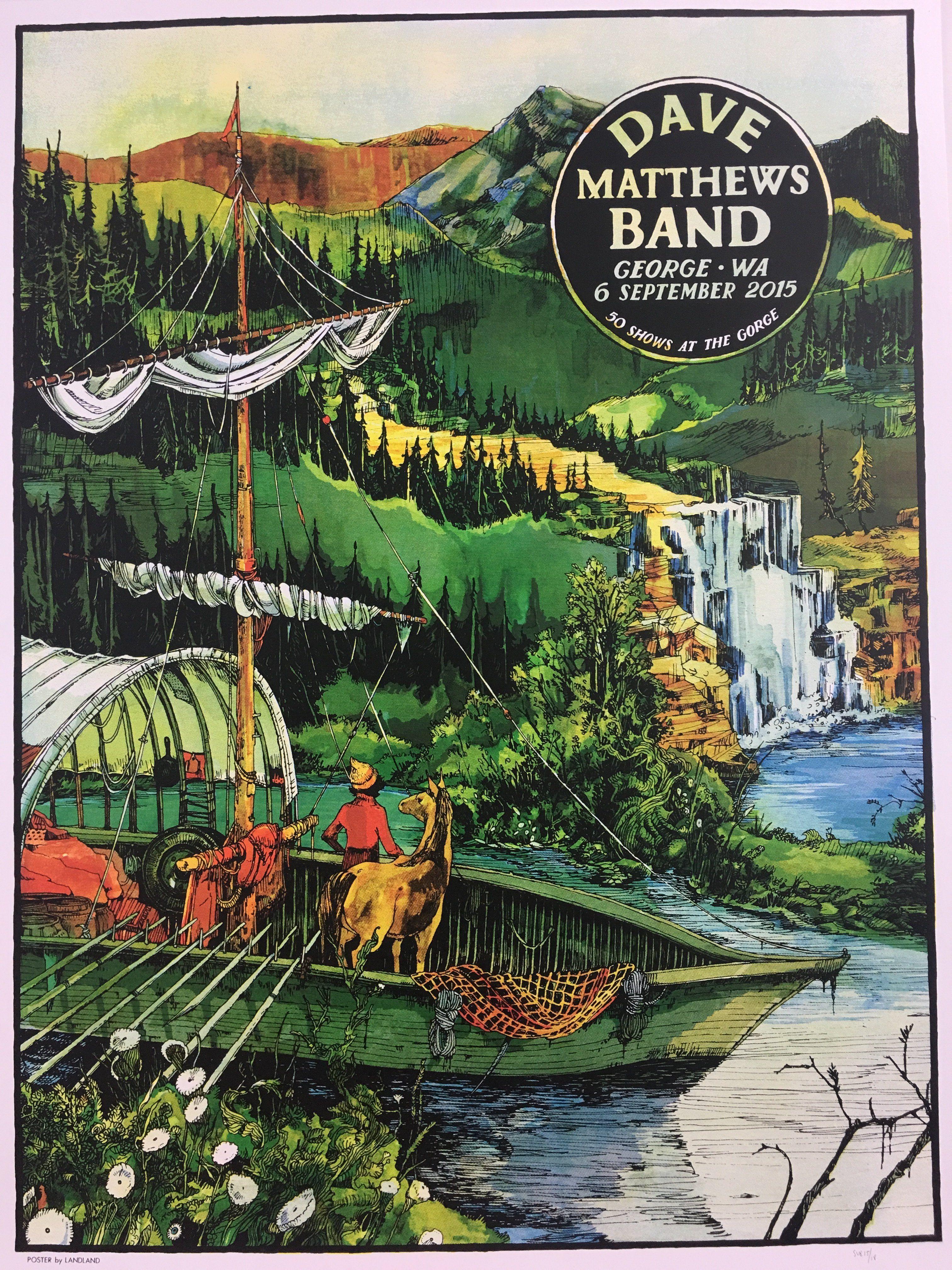 Dave Matthews Band 2015 Landland Poster George Wa Gorge