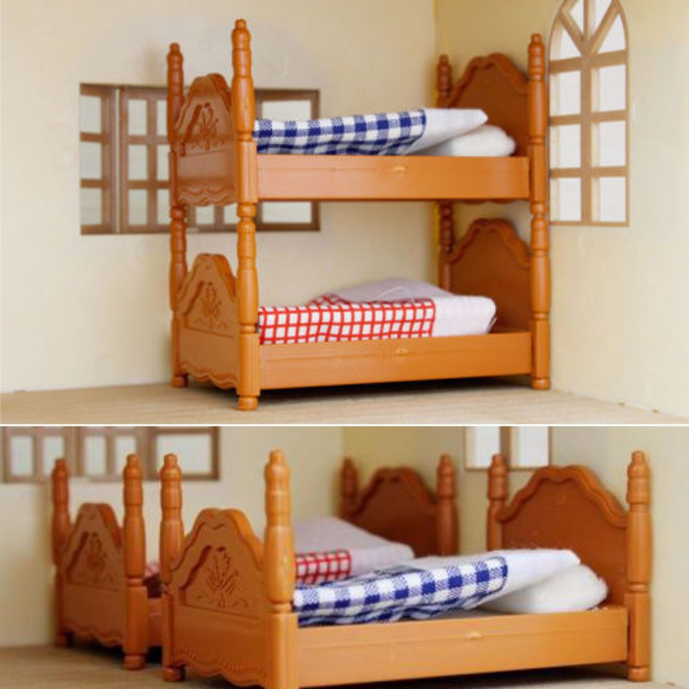 Plastic Bunk Bed Miniature Dolls House Furniture Set Bedroom Kids