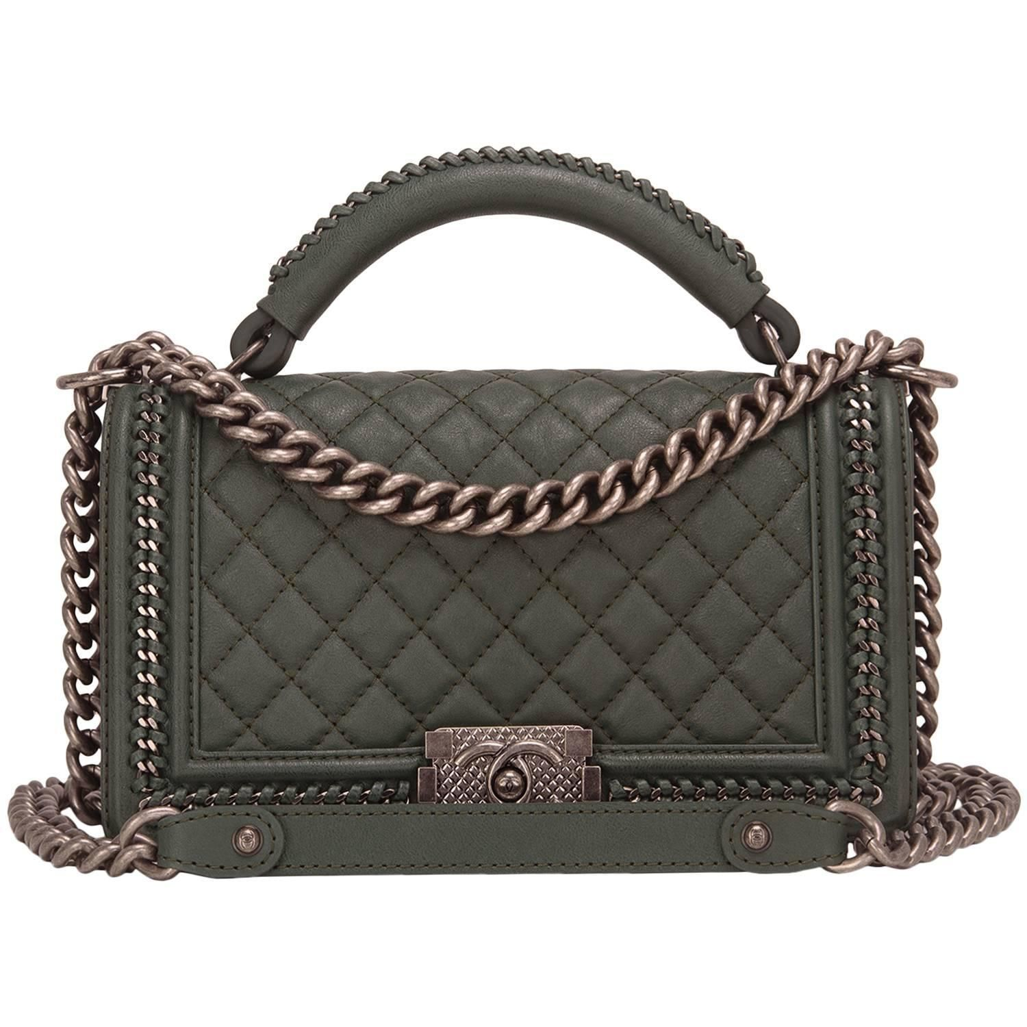 4acabd122ec6 Chanel Dark Green Medium Boy Bag with Handle in 2019 | My 1stdibs ...