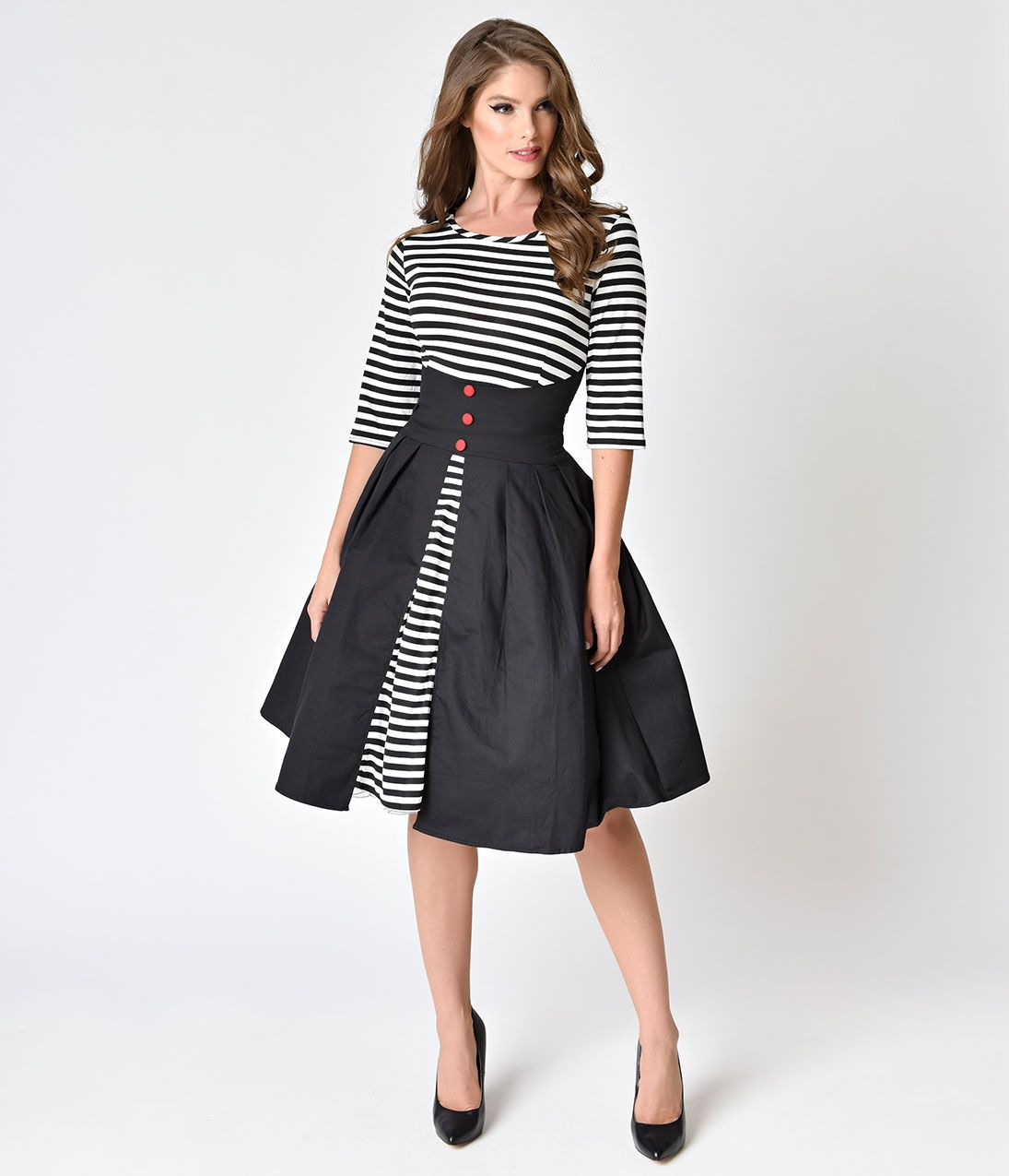 eb8a0833bd9 Retro Style White   Black Striped with Red Heart Patch Shift Dress ...