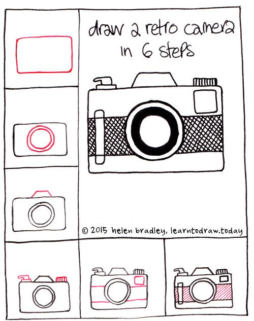 Draw a retro camera step by step kawaii and doodles for Things to draw for beginners step by step