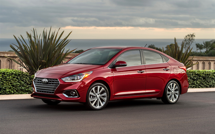 Download Wallpapers Hyundai Accent 4k 2018 Cars New Accent Korean Cars Red Accent Hyundai Besthqwallpapers Com Hyundai Accent Hyundai New Hyundai