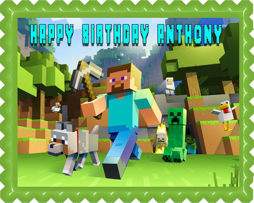 Minecraft Characters 2 Edible Birthday Cake Topper Or