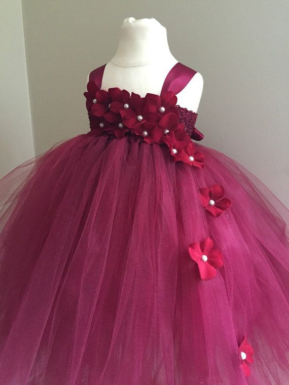 fc055593603 Burgundy hydrangea tulle flower girl dress