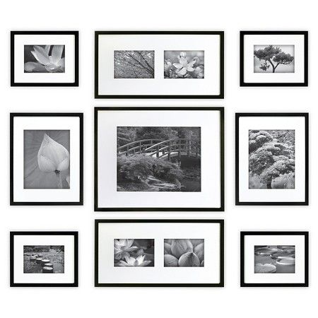 Gallery Perfect 9 Piece Multi-Size Wall Frame Set - Black : Target ...