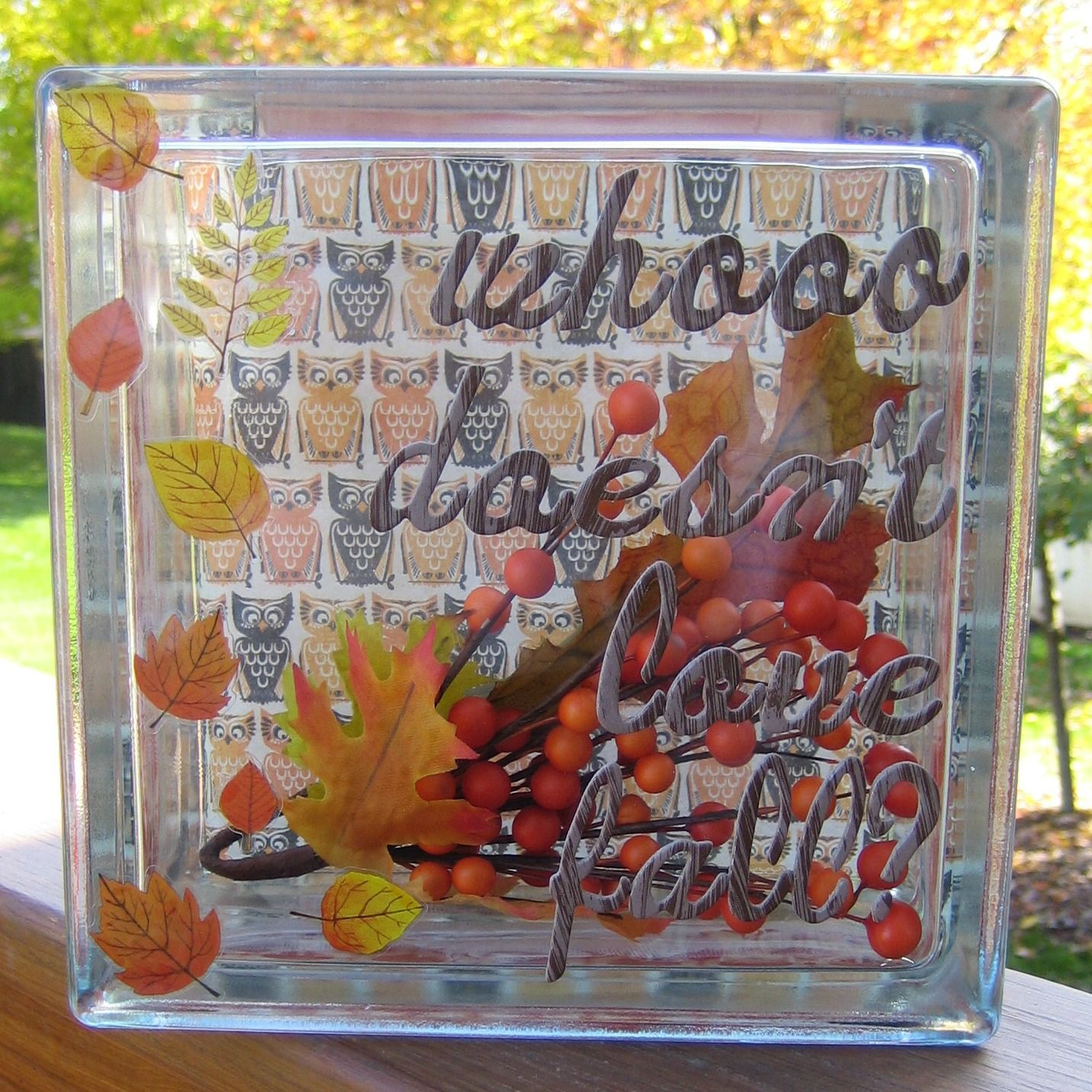 Whoooo doesn\u0027t love fall? Check out this glass block decor tutorial - Hobby Lobby Halloween Decorations