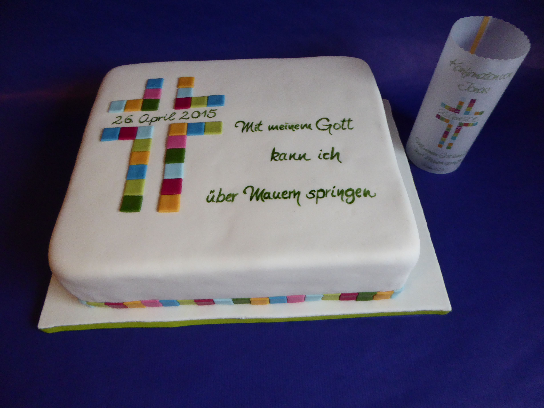 Torte Fondant zur Konfirmation buntes Kreuz passend zur Tischdeko  Fondant Cake for