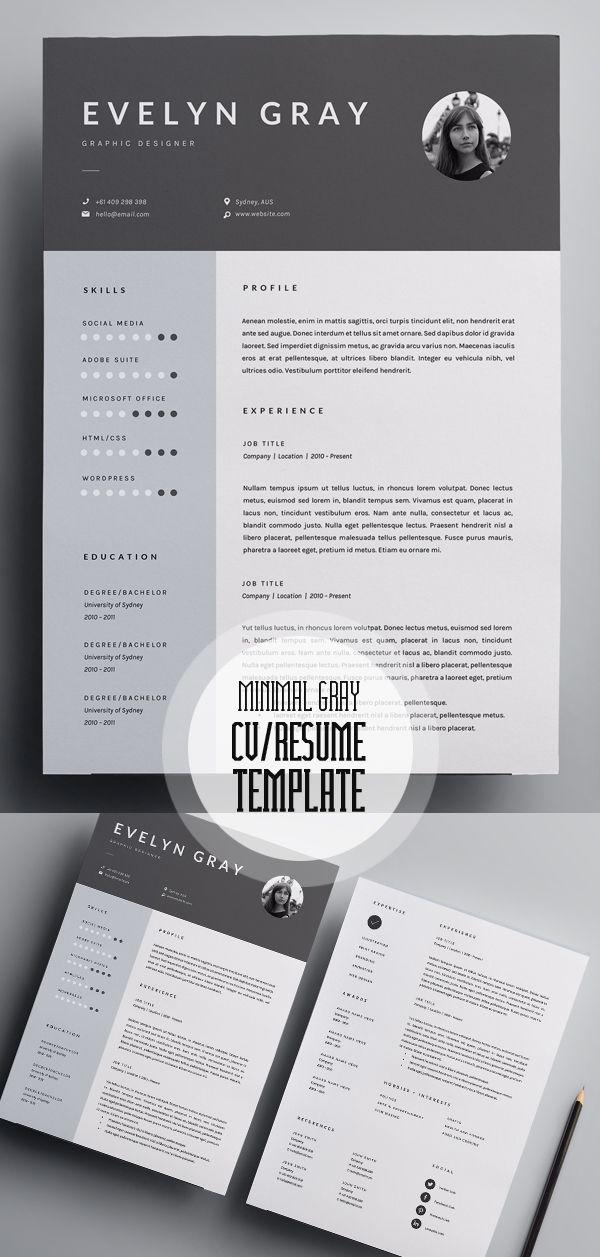 Ats Resume Template%0A Minimal Gray   Page Resume Template  cvtemplate  resumetemplate    page  resume
