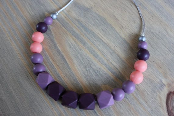 Silicone chew necklace / chew beads / nursing necklace / teething necklace/ bead necklace / baby shower gift / mommy necklace / teether