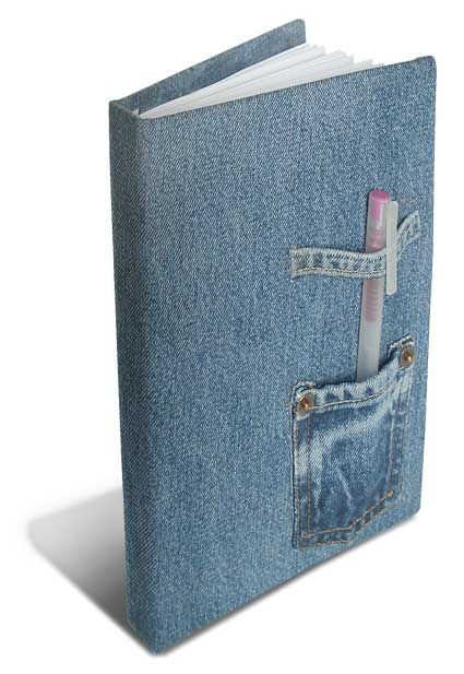 Book Cover Forros Zip : Repurposed denim into book cover or journal