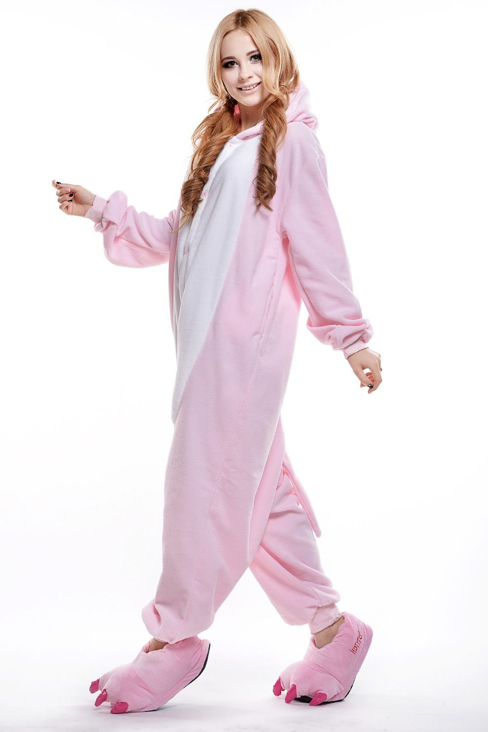 Adult Pink Pig Onesie/ Plus Size Animal Footed Pajamas/ Anime ...