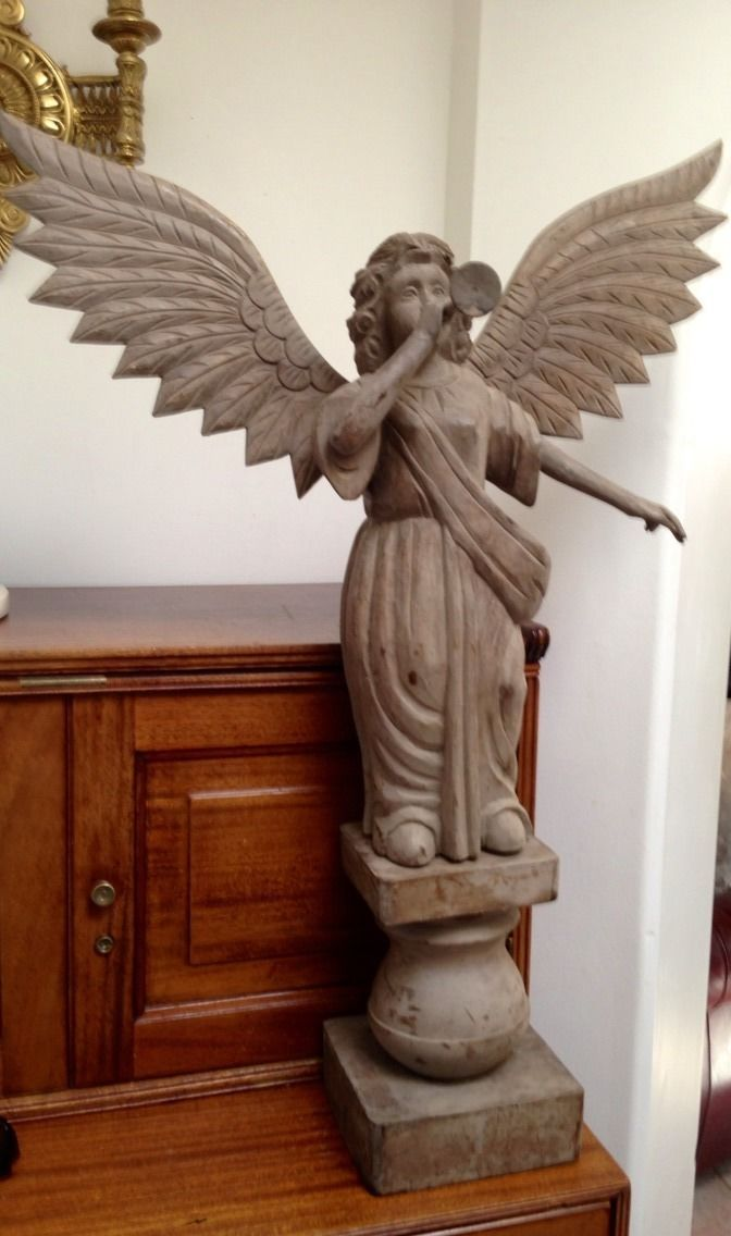 Details About Large Hand Carved Wooden Angel Smooth Wood Beautiful