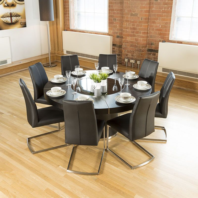 Luxury Large Round Black Oak Dining Table Lazy Susan 8 Chairs