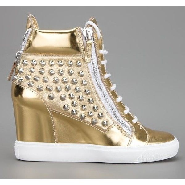 Free shipping wholesale 2014 new brand leather zipper women high top gold  wedge platform spikes sneakers