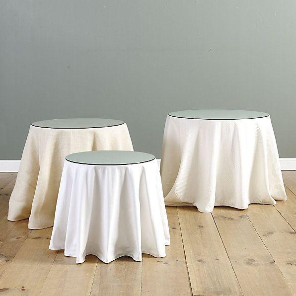 Essential round table trio with table glass ballard essential tablecloth ballard designs