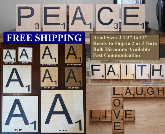 Large Scrabble Tiles Decorative Scrabble Tiles Large Big Carved Letters 3 12 4 5Larondesigns