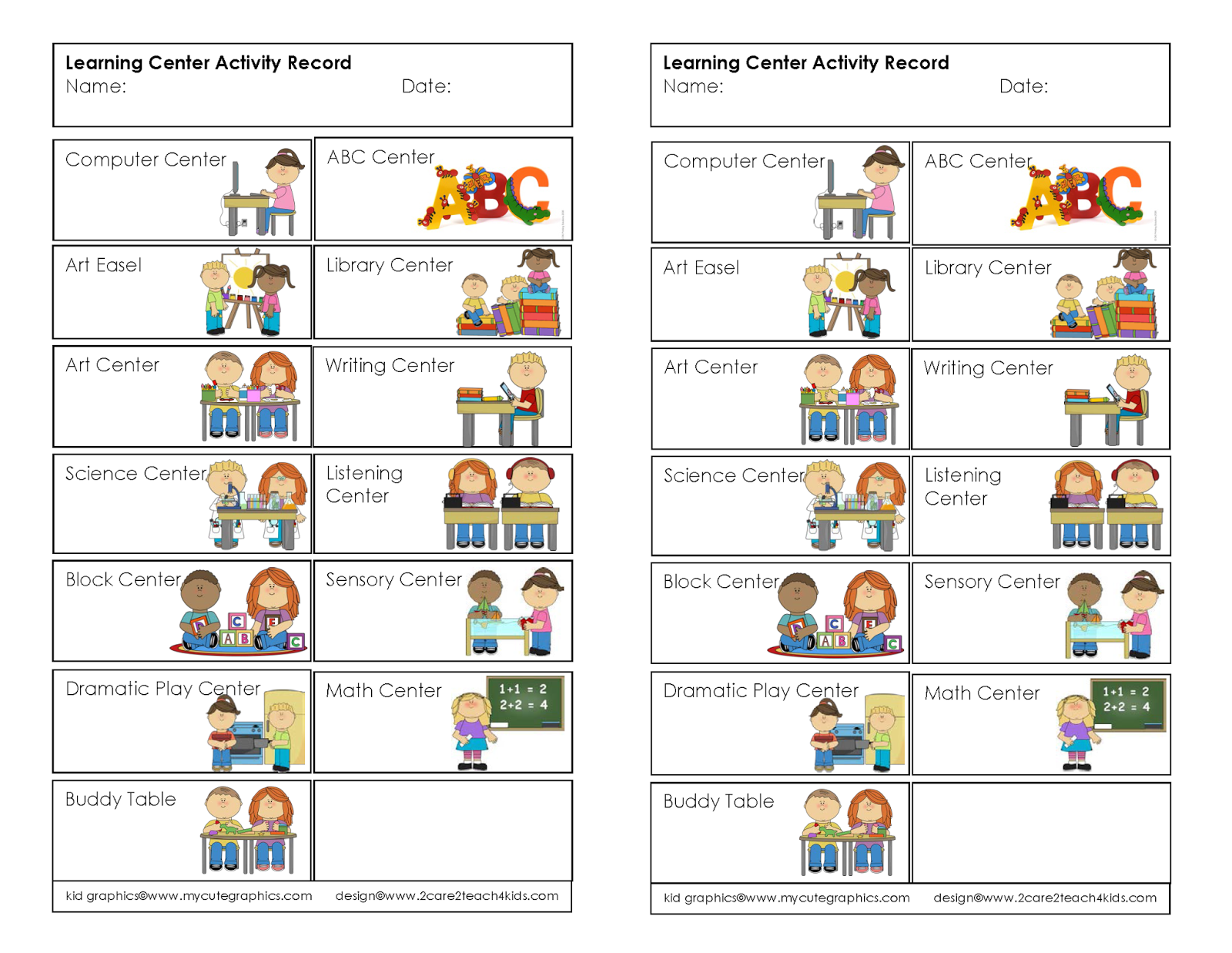 Learning Center Activity Record Free Printable
