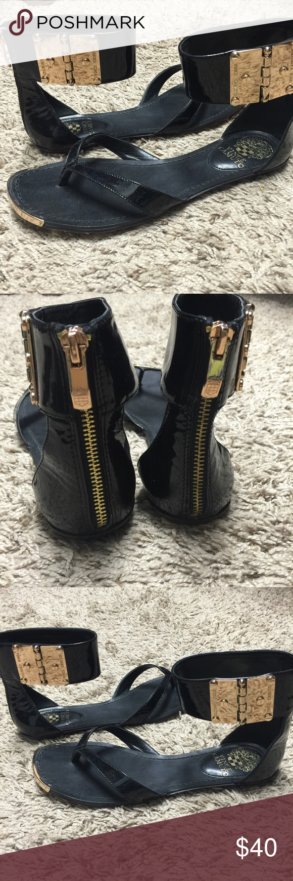 Vince Camuto black and gold flat sandal I'm so sad that these don't fit me. They are an 8 but I think I need 8.5. They are in great condition as you can see the bottoms have little wear. Vince Camuto Shoes Sandals
