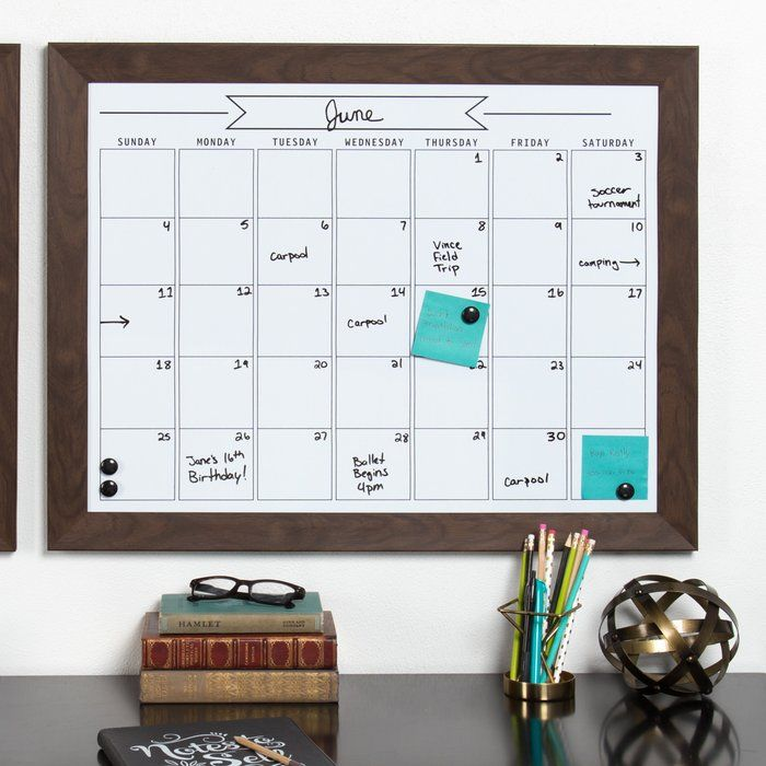 Framed Monthly Write On Calendar Magnetic Dry Erase Board | Kitchen ...