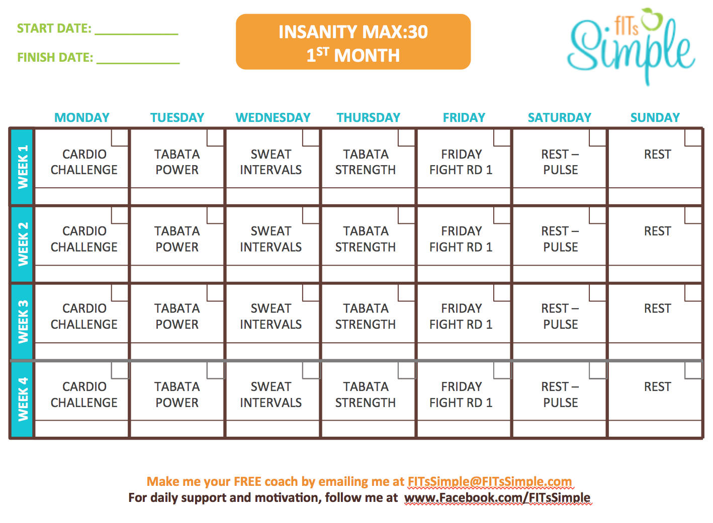Insanity Max 30 Workout Calendar - FREE DOWNLOAD!! | Max out | Pinterest