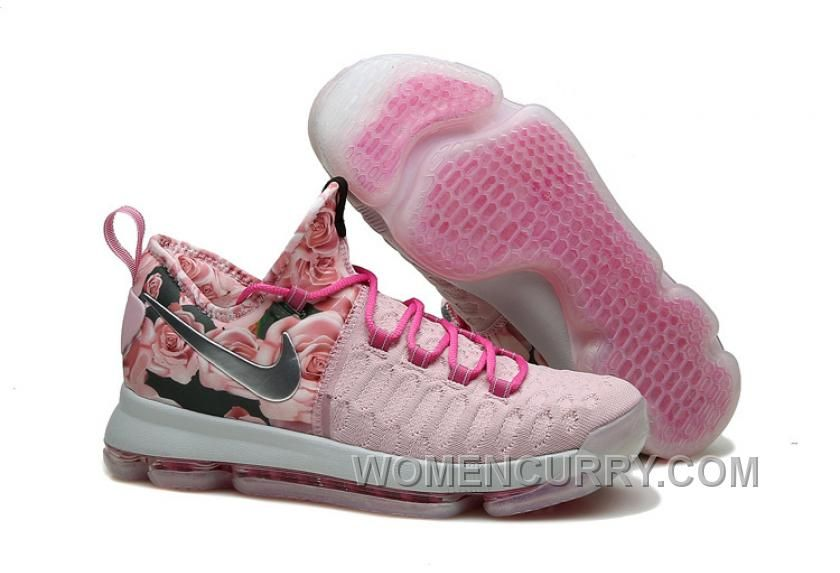 40a6c8206a7 Nike KD 9 Pink Black Aunt Pearl Flora Mens Basketball Shoes Discount  ERsdZb